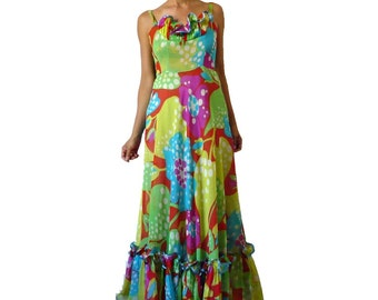French Vintage 70s Psychedelic Print Maxi Silk Dress