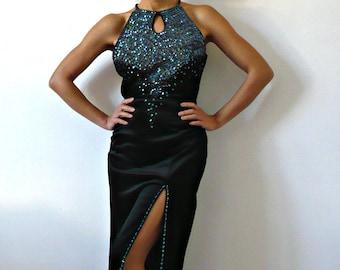 French Vintage Maxi Black Velvet Sequined Dress
