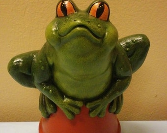 Hand Painted Frog on a Pot for your Gnome Garden Ornament