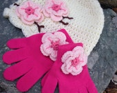 Toddler to Child size Hat and gloves set cherry blossom style cream hat with hot pink gloves