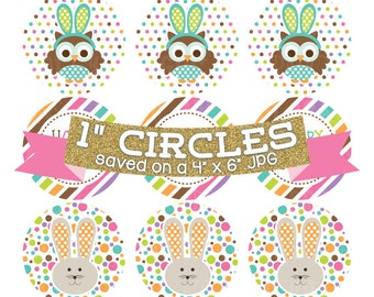 Hoppy Easter Digital Bottlecap Images Owls and Bunnies Holiday Digital Collage Sheet Bottle Cap Graphics One Inch Circles 4x6 JPG