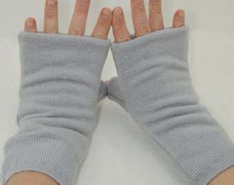 Fingerless Mitts in Arctic Grey - Recycled Wool - Fleece Lined