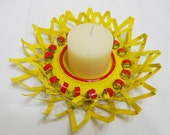 Candle Holder Recycled from Aluminum Can - Yellow Flower