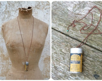 Medicine box Handmade vintage old French tin box pendant on chain