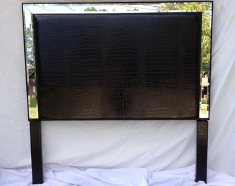 QUEEN Black Crocodile Faux-Leather Upholstered Headboard with Mirrors