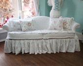 Liaromg for libby 50%deposit shabby chic sofa couch ruffle roses white chenille bedspread slipcover cottage prairie custom order