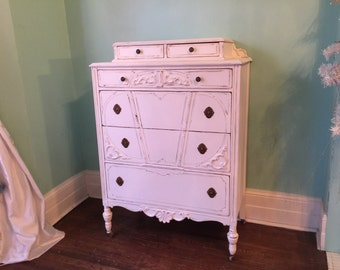 custom order Antique Dresser Shabby Chic white distressed bedroom vintage Cottage prairie