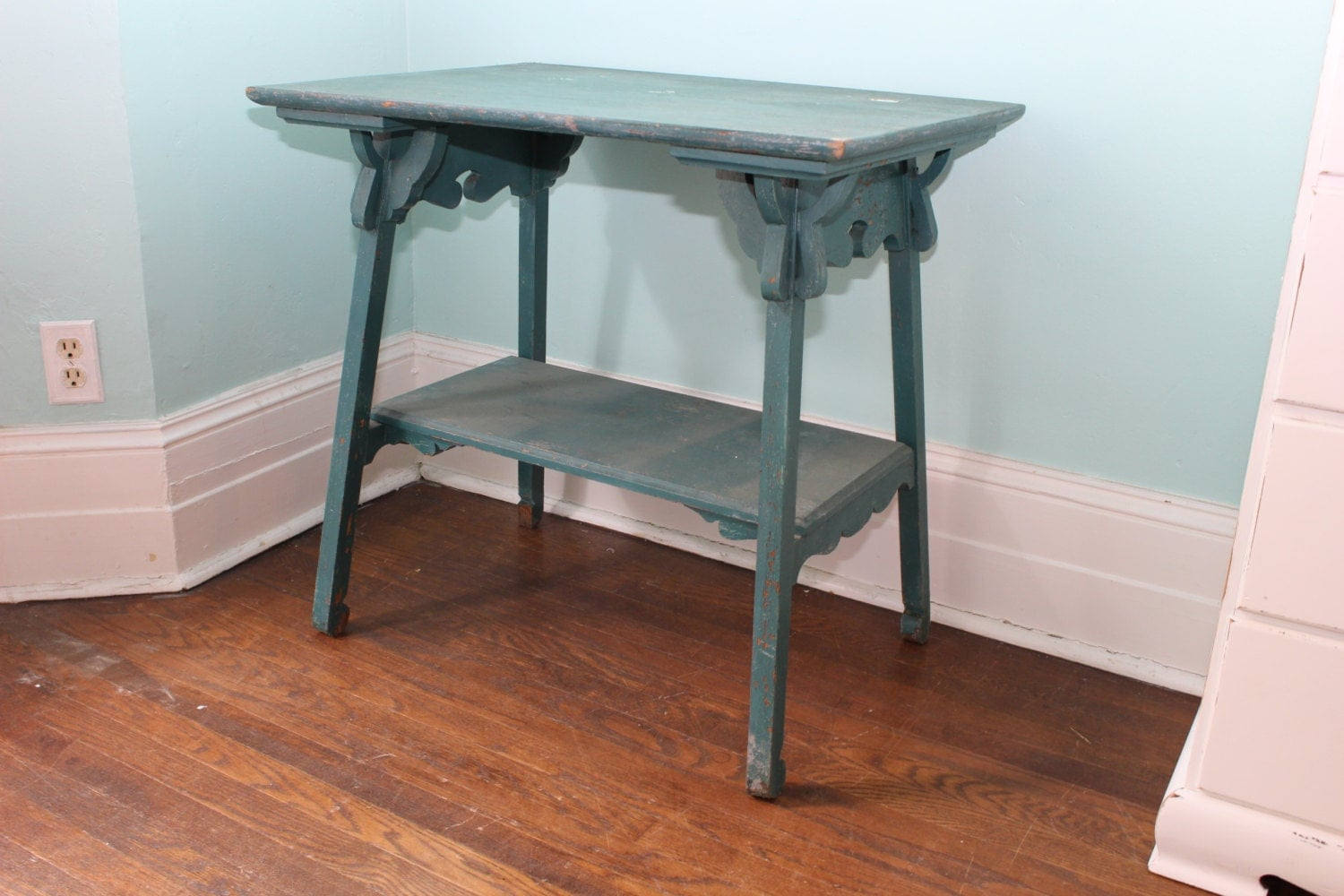 Table shabby chic teal turquoise blue original paint distressed chippy antiqu - Table haute originale ...