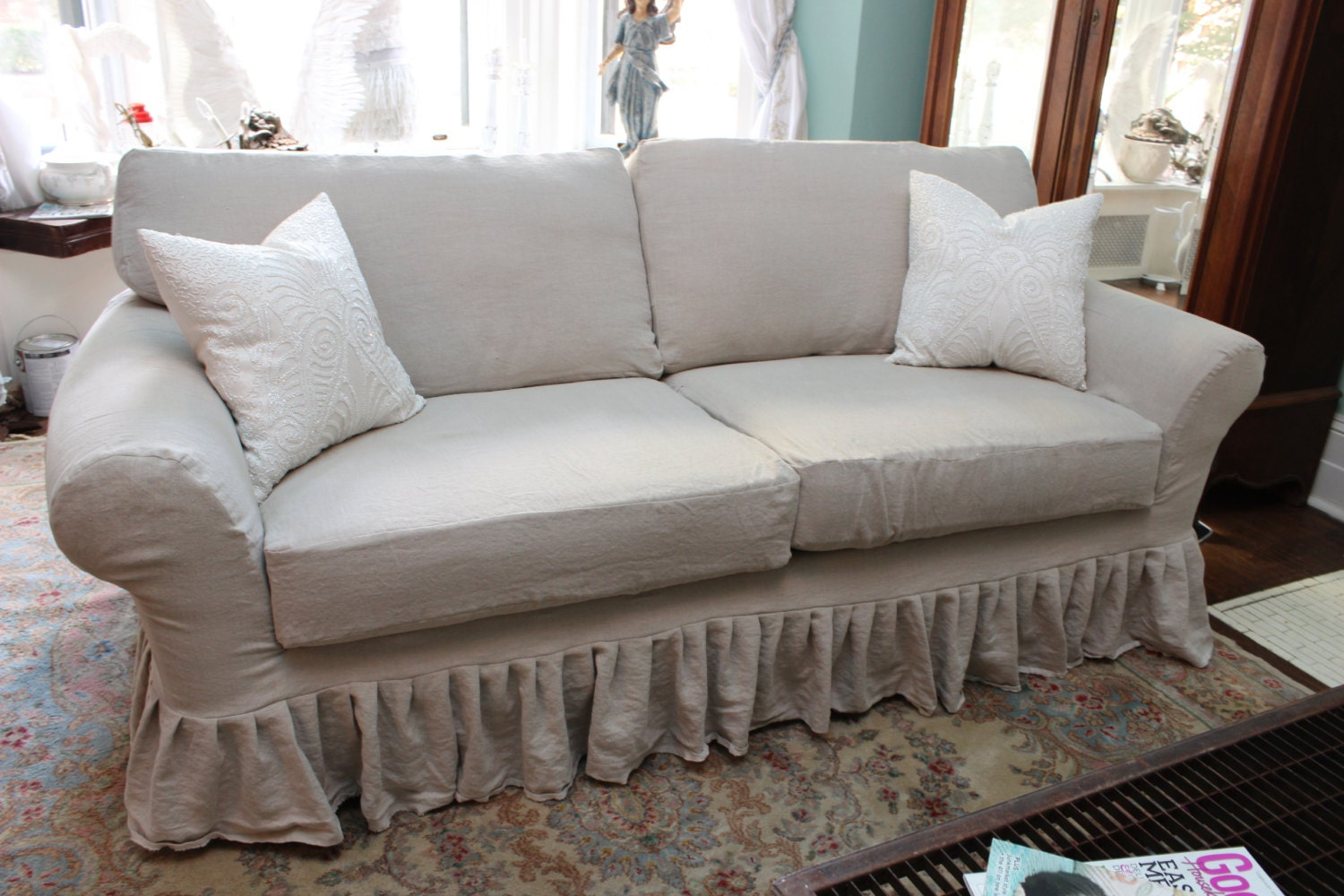 shabby chic sofa couch ruffle slipcover by vintagechicfurniture. Black Bedroom Furniture Sets. Home Design Ideas