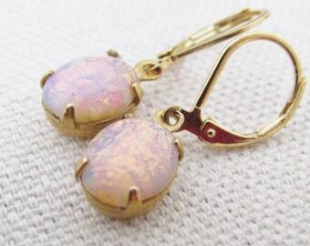 Gold Opal Earrings, Vintage Opal Jewelry, Gold Fire Opal Earrings, Dangling, Lever back, Pink Opal Earrings, October Birthstone Jewelry