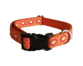 "Ikat Orange - Buckle or Martingale 3/4"" Dog Collar"