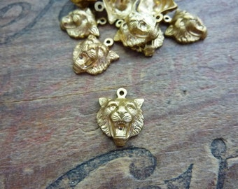 Raw Brass Stamping Fierce Lion Charm Lion Head (1)