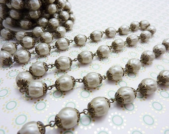 Bead Chain 10mm Baroque Glass Pearl Bead Chain Satin Taupe 18 Inches #040