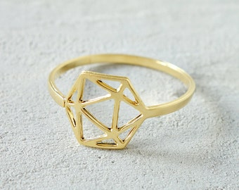 On Sale Geodesic Ring, Geometric ring, signature ring, Architectural jewelry