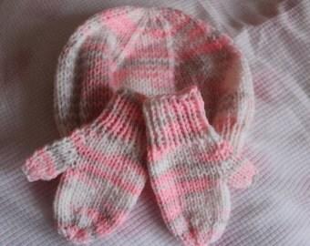 Handknit baby hat and mittens