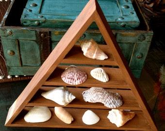 Seashell Triangle Shelf Wooden Triangle with Seashells