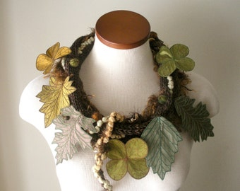 Leaf Scarf- Seal Brown with Sage Green, Golden Olive, Moss, Gold, and Bronze-Brown Embroidered Leaves- Fiber Art Scarf