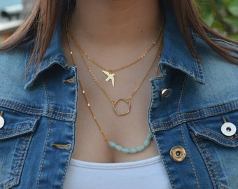 Layer Necklaces Set, Layering Necklaces Set, Gold Plated Necklace, Long necklace
