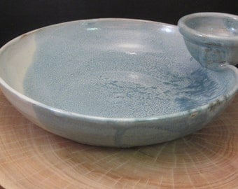 Handmade Ceramic Bread and Oil Dipping Bowl - Antique Blue and Ivory