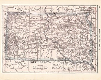 1913 State Map South Dakota - Vintage Antique Map Great for Framing 100 Years Old