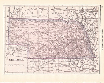 1913 State Map Nebraska - Vintage Antique Map Great for Framing 100 Years Old