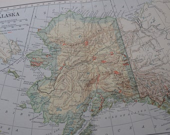 1909 State Map Alaska - Vintage Antique Map Great for Framing 100 Years Old