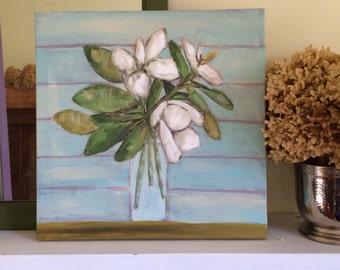 Magnolias in a Vase, original art, original painting of magnolias in a vase, floral art, still life art, original still life painting