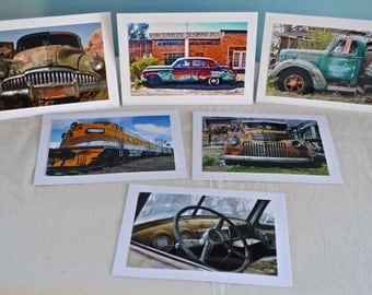 Greeting Card Set of Six, Old Cars, Trucks and a Train, in Box