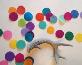 Felt Garland - Rainbow Circles- 6 Feet