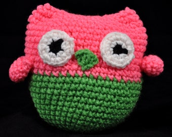 Pink and Green Owl Plush