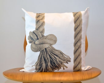 Nautical PILLOW Sham- Beach Home Decor-  Throw Pillow- Pillow Cover, Modern, Rope Knot Accent Cushion (Ready to Ship)