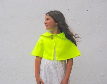 Neon Cape- Spring Capelet for Girls in Bright Yellow- Peter Pan Collar- Girls Clothing- Spring Fashion