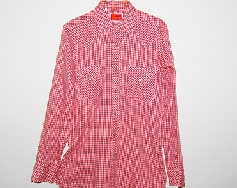 Vintage Shirt Ely Plains Red and White Western