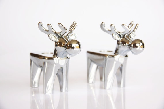 Silver coloured reindeer candle holders Christmas by