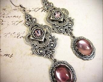 Victorian Earrings, Lavender, Purple, Renaissance Jewelry, Victorian Bridal Jewelry, Bridal Earrings, Marie Antoinette, Garb, Avalon