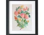 Watercolor floral original drawing poster