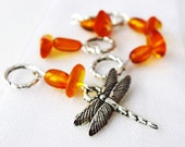 Dragonfly in Amber - Outlander Series - Five Handmade Stitch Markers - Fits Up To 5.0mm (8 US) - Limited Edition