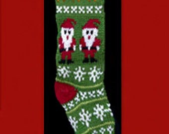Hand knit Christmas stocking,  Personalized, made of pure wool yarn,  fully lined -- Santa, dog and snowflake