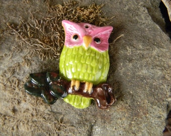 Pottery Owl    Hand sculpt ceramic  Pendant for necklace  , charm or Christmas ornament glazed green pink Fucshia
