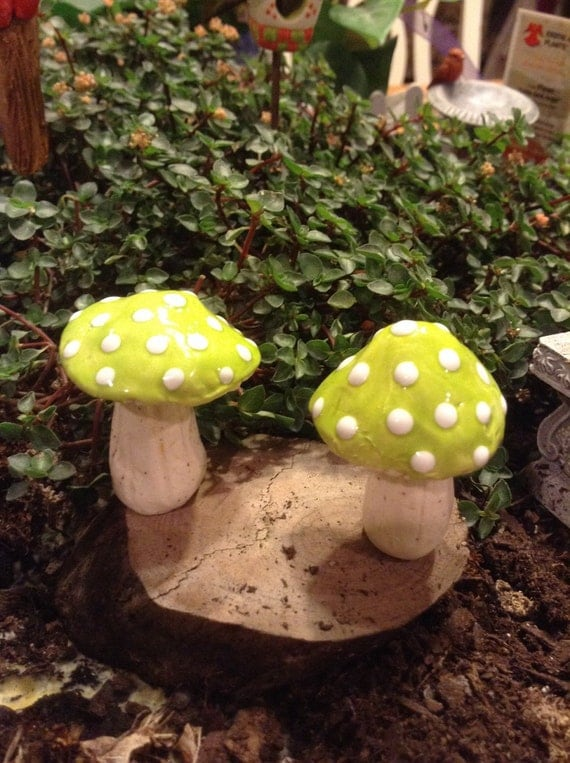 2 Mushroom miniature Statues  Home Grown Ceramic  Pottery shrooms Bright Apple Fruit Green