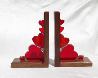 Stained Glass Bookends Hearts Galore Bookends Stained Glass and Walnut Bookends Red Glass Heart Book Ends Hand Made Bookends Walnut Bookends