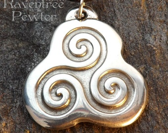 Triple Spirals - Pewter Pendant - Spiral, Triple Goddess, Mother, Maiden, Crone, Celtic, Norse, Pagan, Jewelry