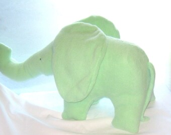 Barney Large Green Toy Elephant Stuffed Animal Soft Washable Fleece No Buttons Individually Hand and Machine Sewn Original Pattern