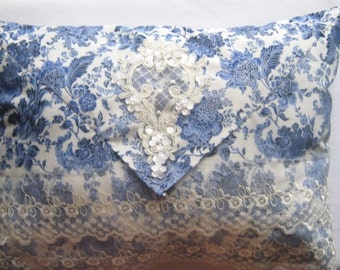"""Envelope Style Pillow Blue Rose Flowers on White Shabby Chic Lace Victorian Style Decorative Pillow Complete 14"""" x 11"""" Beaded Applique"""