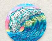 The Wave Surf Art Glass Ornament and Suncatcher