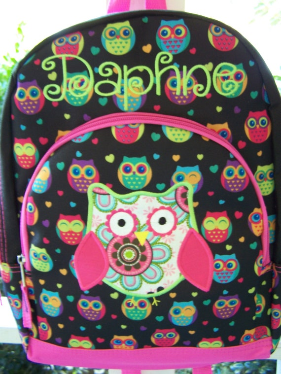 Personalized girls backpack Owl back pack. personalized