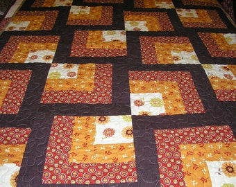 Log Cabin Lap Quilt, Wall Hanging, 46x 57 inches