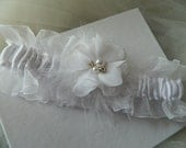 2015  Prom Garter White Satin Over White Organza Custom Colors Garter