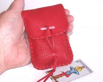 Miniature Tarot Bag / Medicine Bag...Deerskin,,,MINI Vertical Flap....RED..Smooth