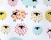 Japanese Oxford Cotton Fabric - Baa Baa Sheep in White - Half Yard - Sopo Muoto from Japan